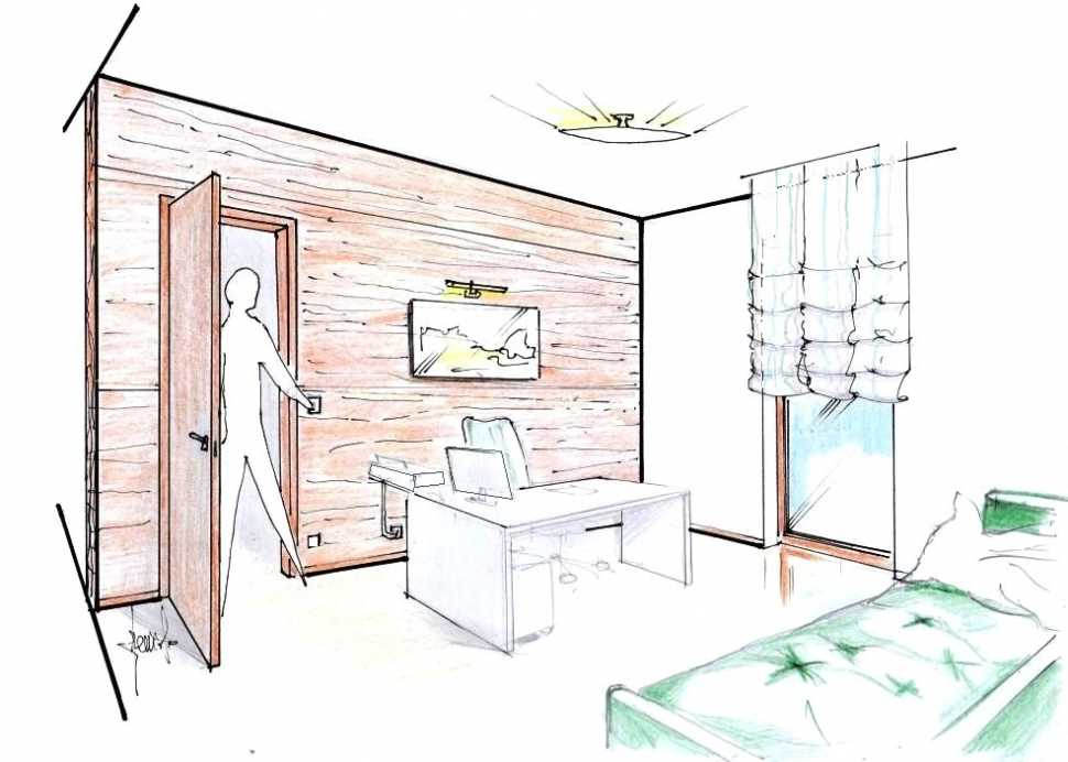 Parete divisoria in legno: disegno prospettico