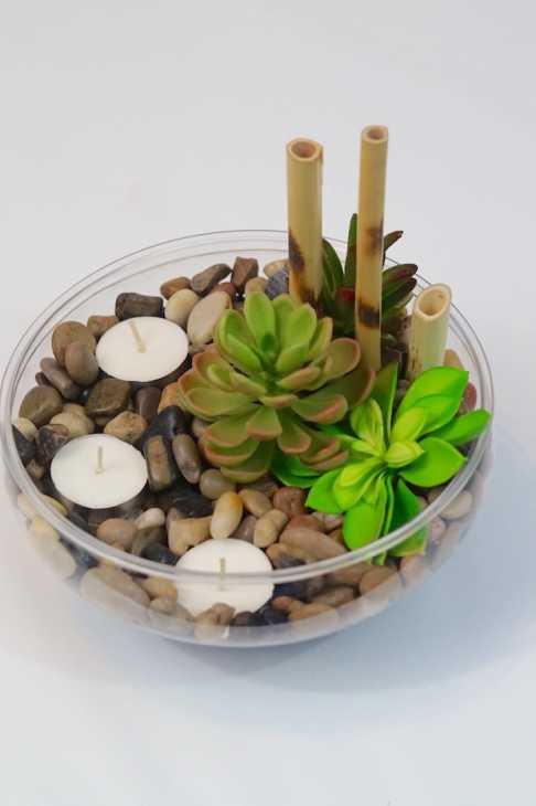 Centrotavola con candele e piante grasse, parte 2, da missplanit.com