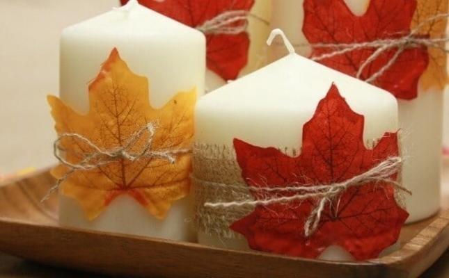 Centrotavola con candele e foglie secche, da thatswhatchesaid.net