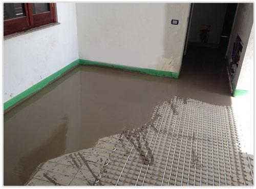 Riscaldamento a pavimento con pannelli ribassati
