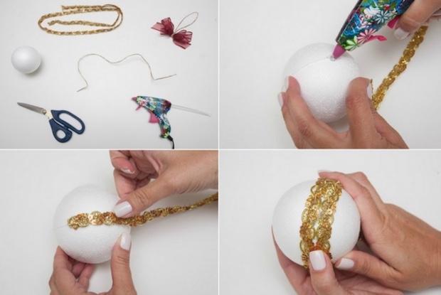 Decorazioni natalizie: palline decorate con le pallettes, parte 1, da diy-enthusiasts.com