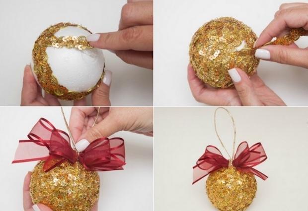 Decorazioni natalizie: palline decorate con le pallettes, parte 2, da diy-enthusiasts.com