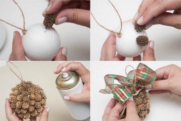Addobbi natalizi: palline decorate con le pigne, parte 2, da diy-enthusiasts.com