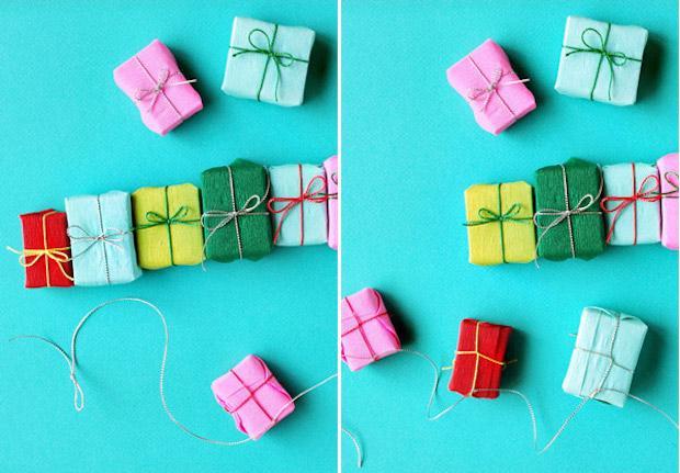 Decorazioni natalizie con la carta: ghirlanda di regali, parte 3, da ohhappyday.com