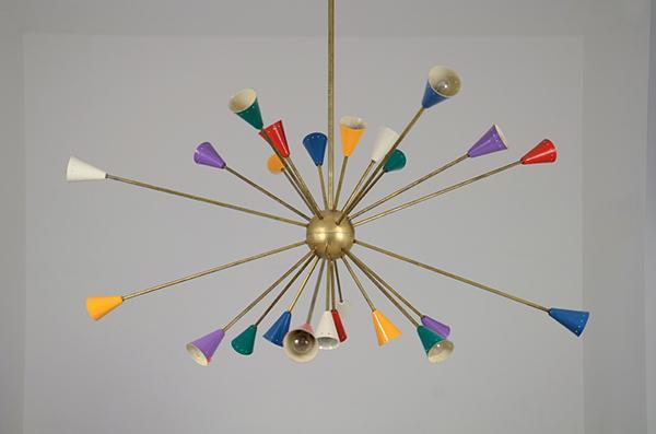 Lampada design cicina anni '50, 24 luci officina antiquaria