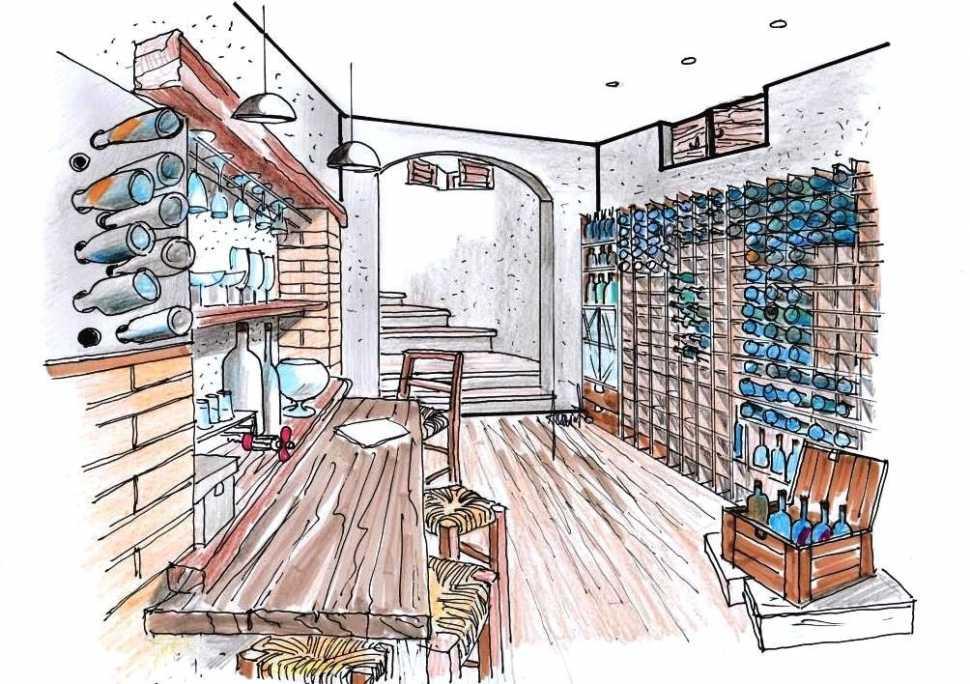 Cantina in casa: disegno di progetto