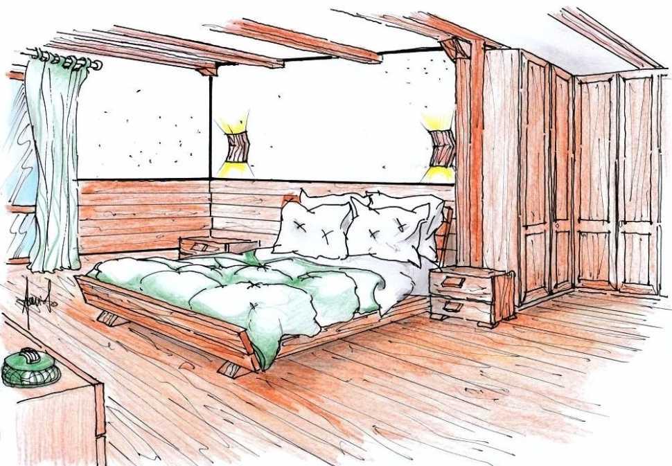 Camera da letto della casa di montagna: idea di progetto