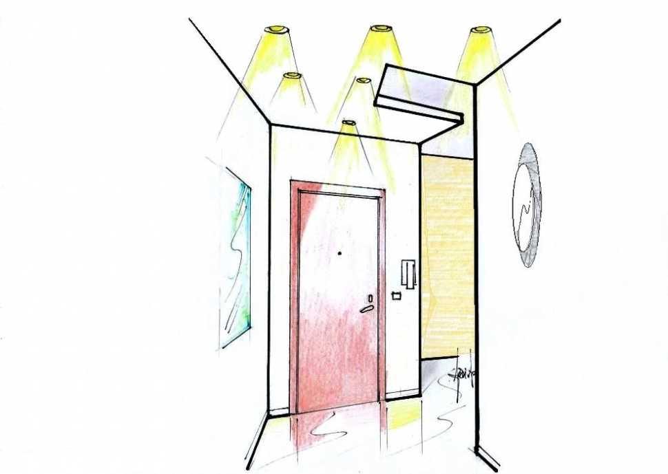 Illuminazione ingresso: faretti da incasso e plafoniera a parete