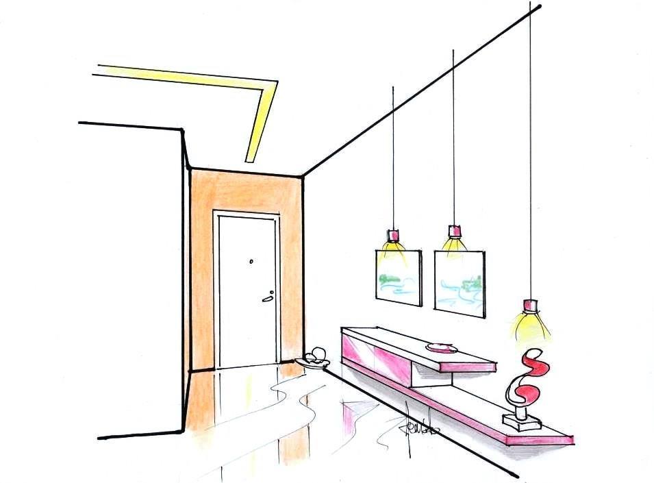 Illuminazione ingresso con sospensioni e striscia led a soffitto