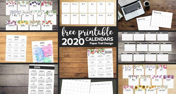 Calendario free print di Papertraildesign.com