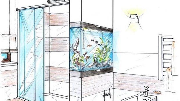Suggestioni d'arredo con l'installazione di un acquario in bagno