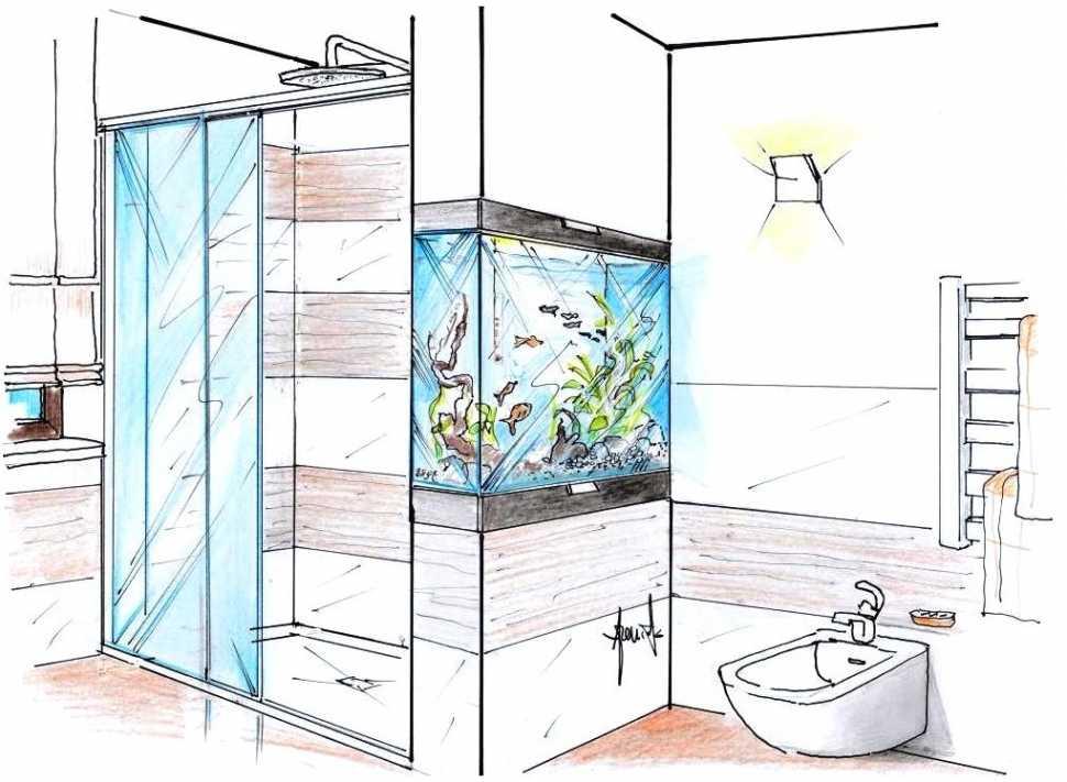 Acquario a incasso in parete doccia: disegno di progetto