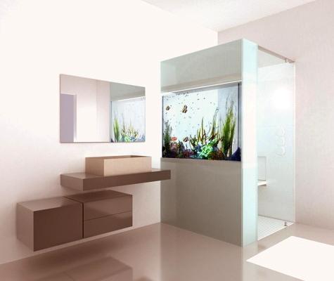 Acquario-parete per bagno, design di Giulio Gianturco e Mario Tessarollo