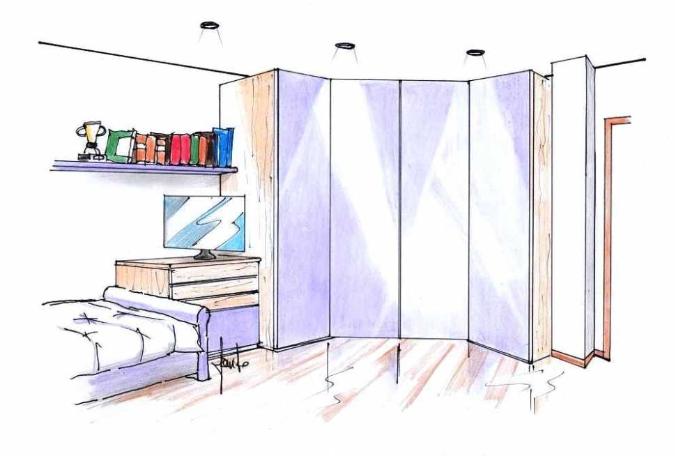 Cabina armadio ad angolo per cameretta: disegno di progetto