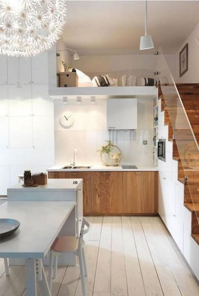 Soppalco con camera da letto sopra la cucina - Fonte foto: Pinterest