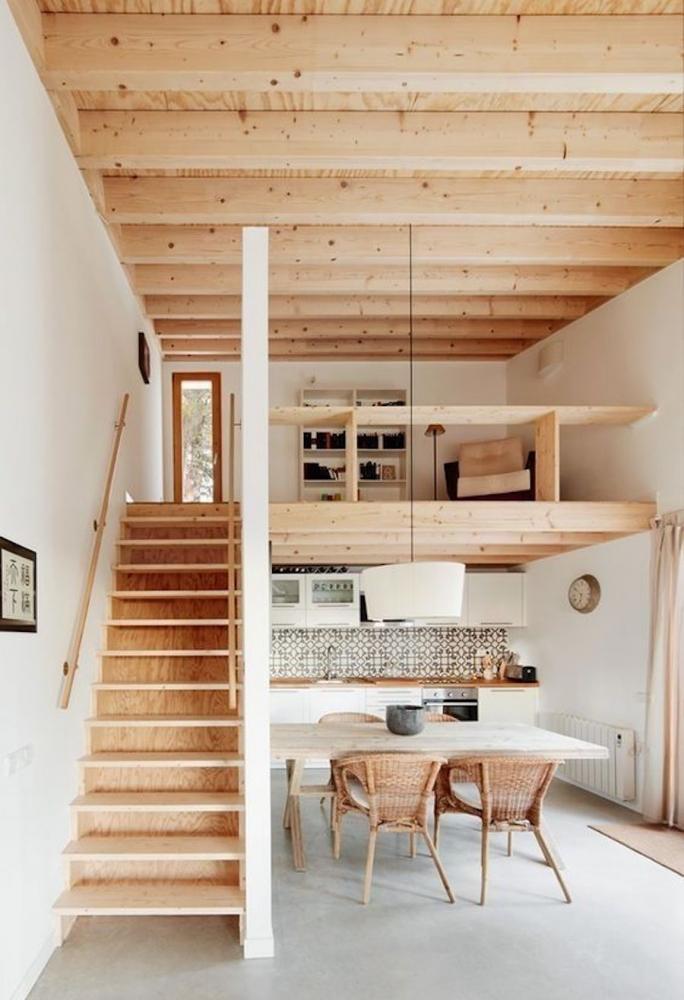 Soppalco in legno sopra cucina e zona pranzo - Fonte foto: Pinterest