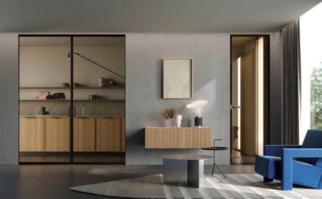 Porta filomuro in vetro grafite bronzo per ambiente cucina - ECLISSE
