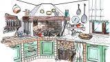 Soluzione progettuale per un camino in cucina