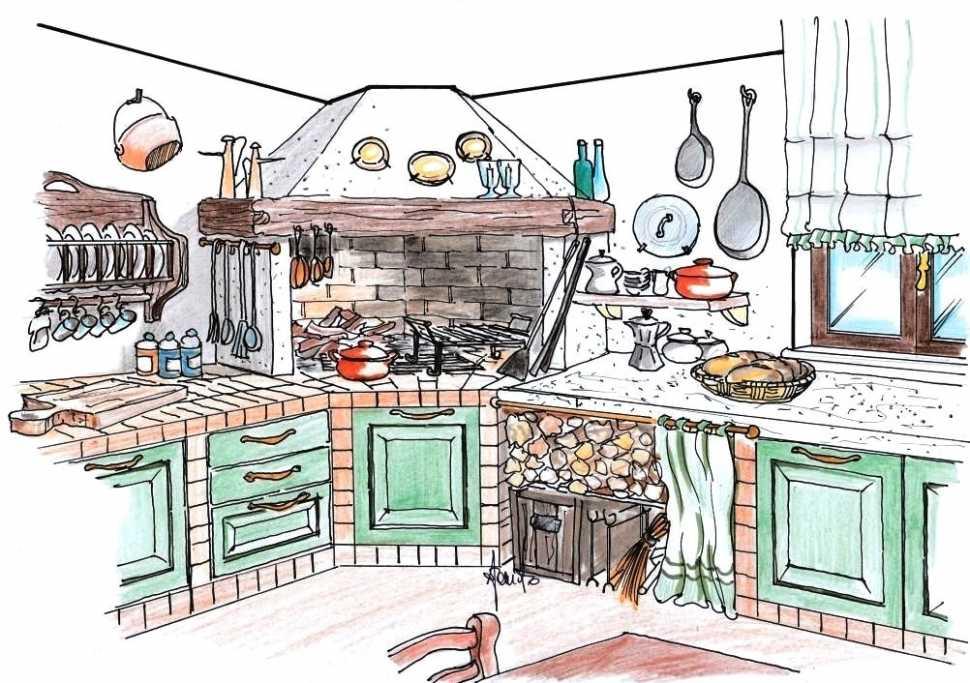 Camino angolare in cucina: disegno di progetto