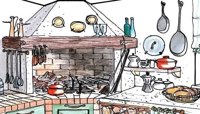 Camino per cucinare disegno