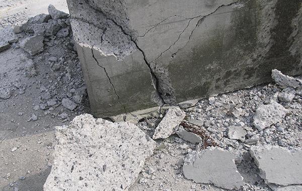 Esempio di lesioni in una struttura di cemento armato