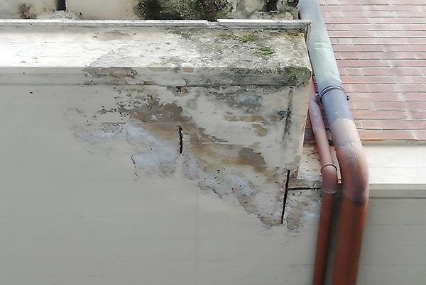 Il degrado del cemento armato si manifesta con patine biologiche, armatura corrosa con caduta del copriferro