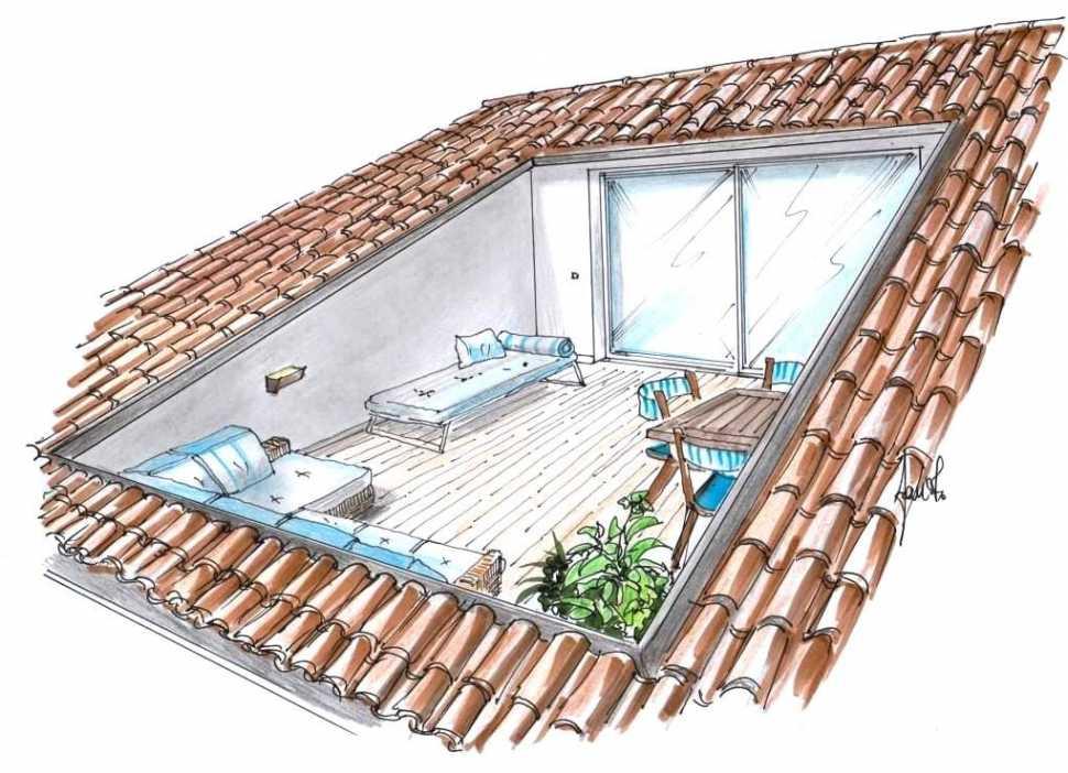 Terrazzo a pozzo in mansarda: disegno prospettico