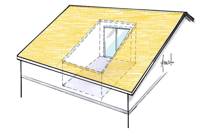 Terrazzo a pozzo sul tetto schema
