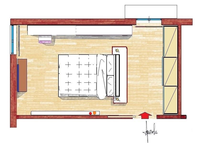 Camera con letto al centro: pianta di progetto