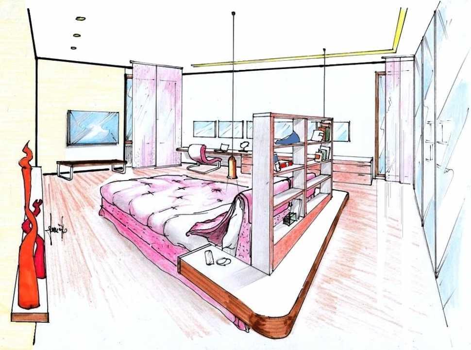 Camera matrimoniale con letto al centro: disegno di progetto