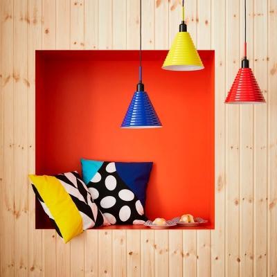 Fodere cuscino MOSAIKBLAD e lampadario FÄRGSTARK - Ikea GRATULERA anni 70'-80'