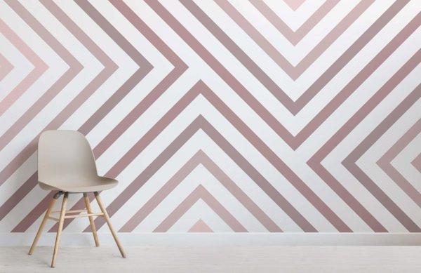 Wallpaper a righe dusty pink - Design e foto by MuralsWallpaper