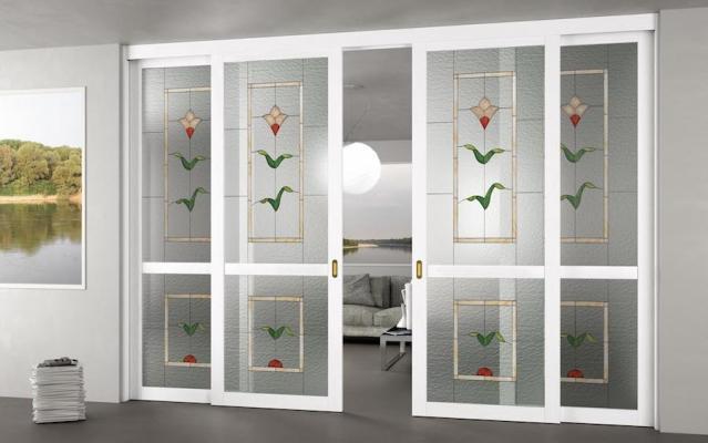 Porta da interni Elegance con vetro Tiffany - Design e foto by Foa