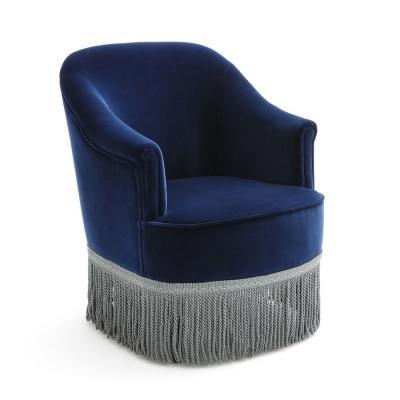 Poltrona in velluto blu Ramona, stile jungle - Design e foto by La Redoute