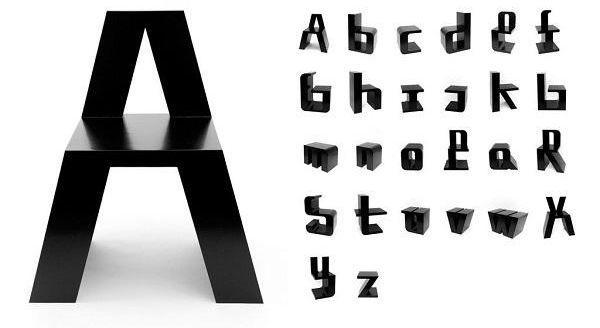 ABChairs, le sedie tipografiche di Roeland Otten