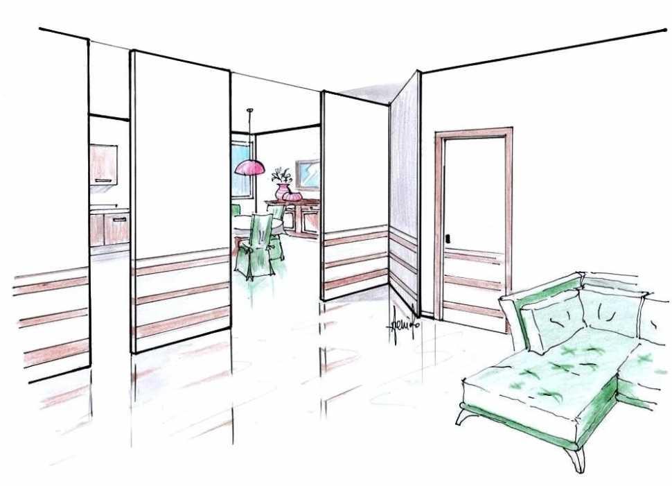 Pareti mobili casa: disegno 3D