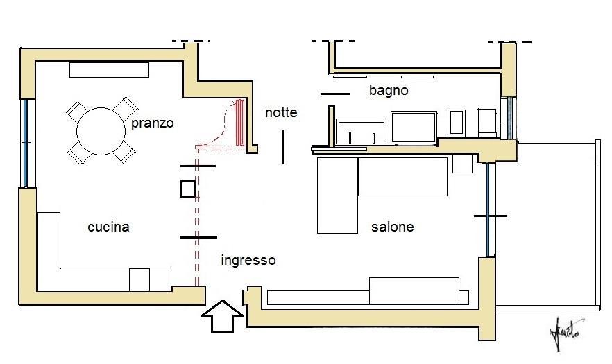 Pareti mobili divisorie casa: pianta di progetto