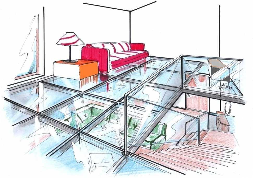 Pavimento in vetro soppalco: disegno di progetto