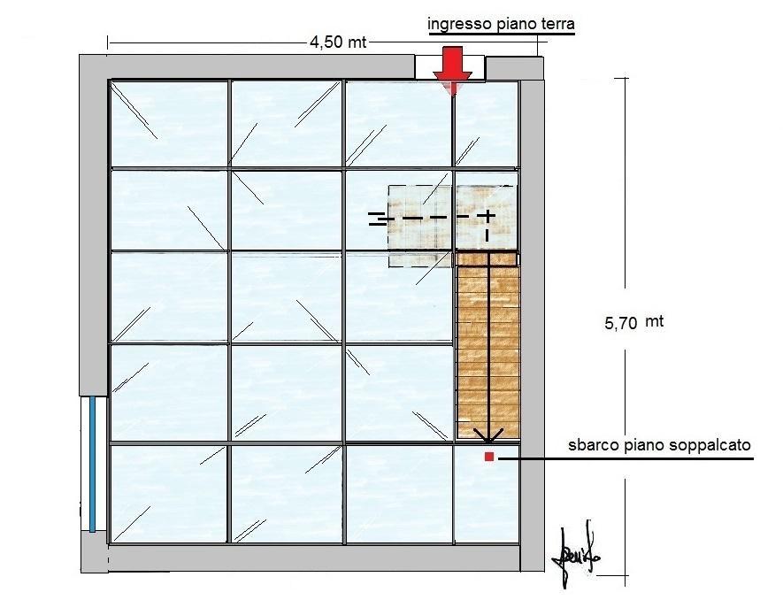 Ambiente soppalcato con solaio in vetro calpestabile: pianta di progetto