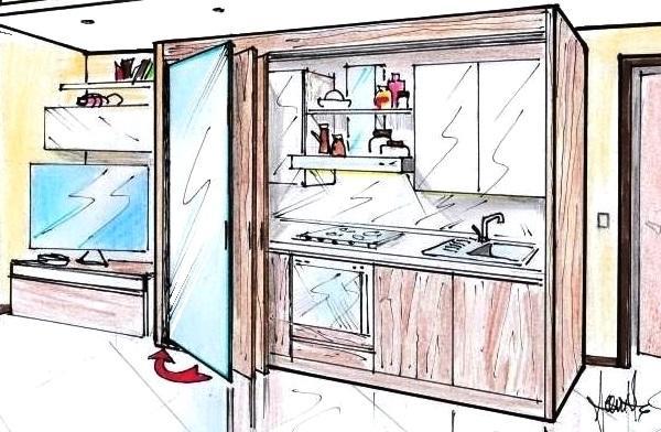 Cucina armadio a scomparsa disegno