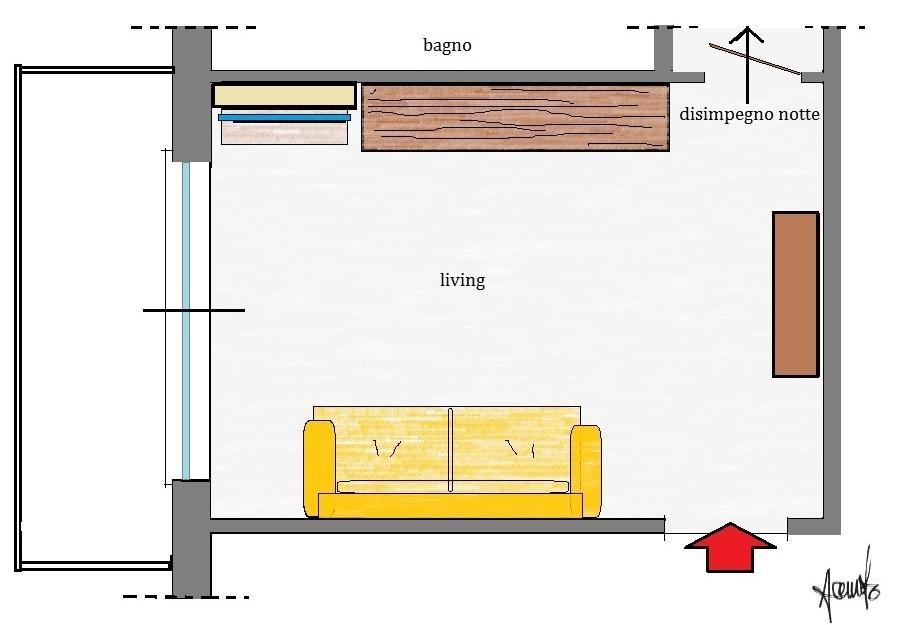 Armadio cucina: pianta soggiorno con arredi