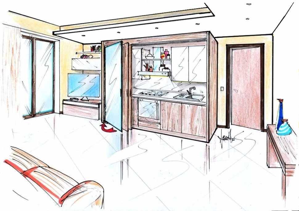 Cucina armadio: disegno di progetto