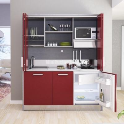 Cucina monoblocco rosso e lavico - Minicucine.com