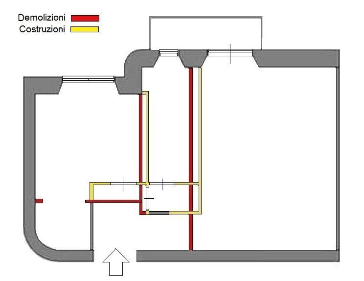 Pianta di progetto per bilocale: demolizioni e costruzioni