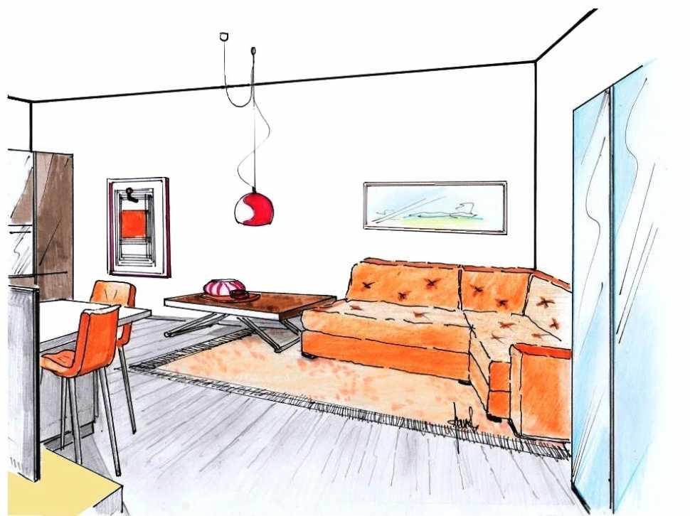 Bilocale disegno di progetto zona living