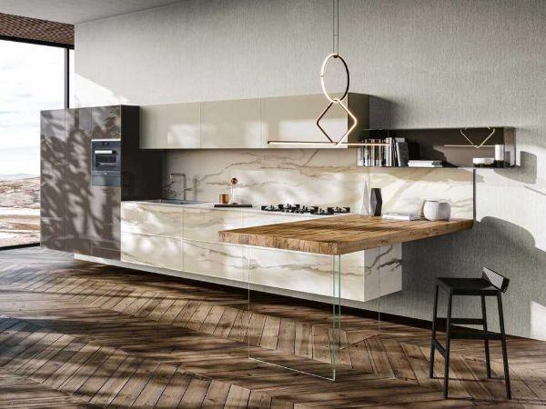 Cucina sospesa Marble X-Glass di Lago