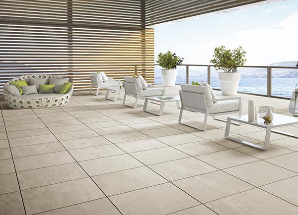 Pavimento sopraelevato terrazzo concept Ragno ceramiche
