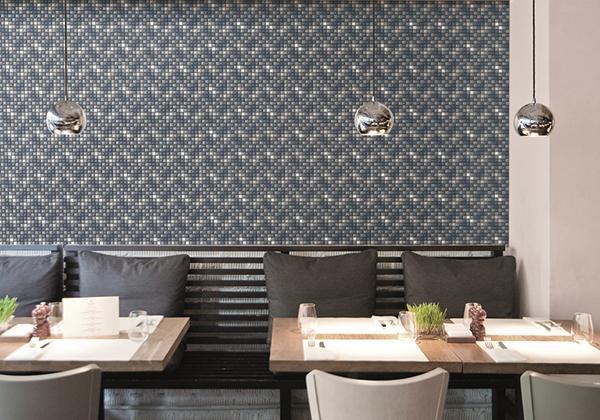 Mosaico ristorante rivestimento Appiani con fuga colorata
