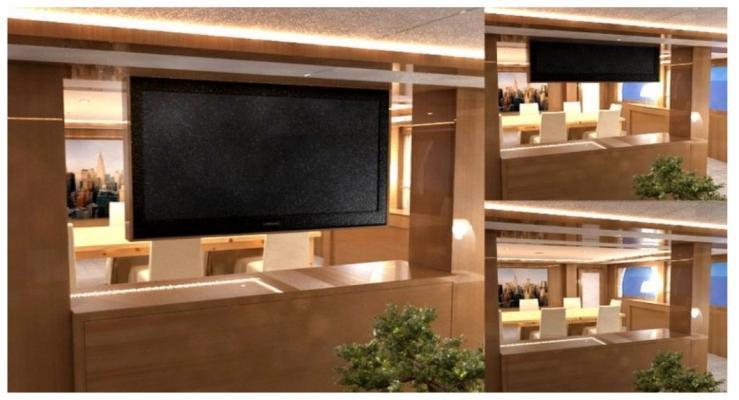 Soluzione tv a soffitto con Tv moving ILSMBE