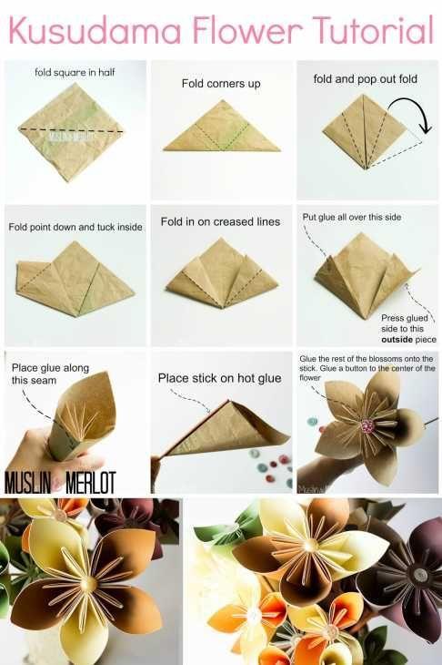 Bouquet origami Muslinandmerlot.blogspot.com
